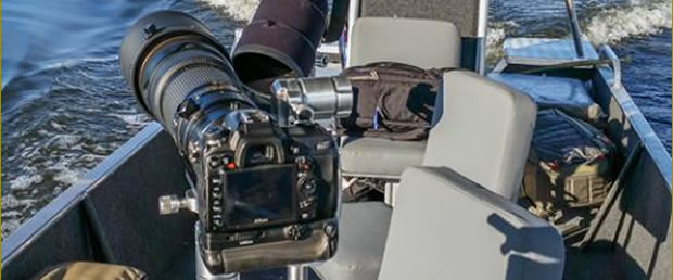 The boat is equipped with special attachments for your camera and comfortable seats